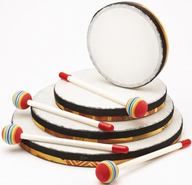 Hand Drums with Beater - Set of Four