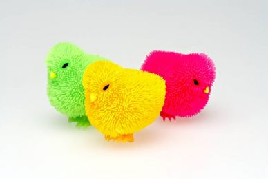 Rainbow Puffer Chicks, set B - green, orange & pink