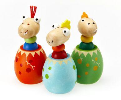 Wooden Squeaky Dinosaur Eggs, set of 2