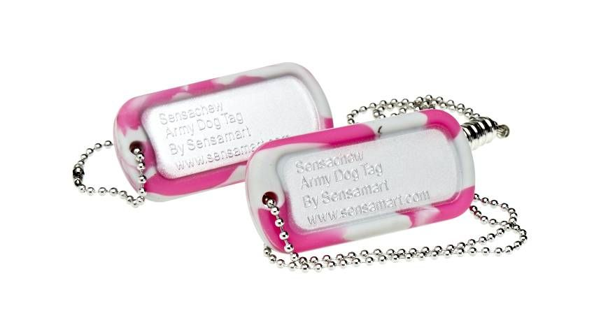 Sensachew Chewable Chewy Dog Tags - 'FIRM' - Available in two colours