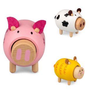 Noisy Wooden Farm Animals - set of 2